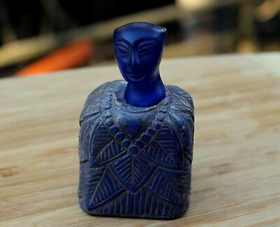 Rare Ancient Bactrian Hand Carved Lapis Lazuli Stone King Statue With Glass Head