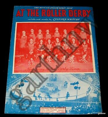 Roller Derby 1950 Photo Music Sheet At The Roller Derby * New Jersey Team
