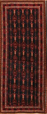 One-Of-Kind Antique Tribal Afghan Hand-Knotted Oriental Runner Rug 4x10