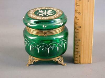 Antique Victorian Bohemian Emerald Green Enamel Glass Bronze Trinket Hinged Box