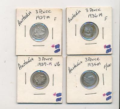 Australia 3 six pence silver coin sterling 4pc lot 1927 1934 1936