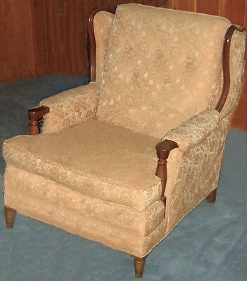 50's/60's Vintage Wing Chair Wingchair Edged in Beautiful Hardwood