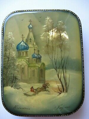Russian black/red lacquer box SIGNED hand painted glazed Mother of Pearl Inlay