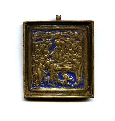RARE Antique Russian Orthodox bronze Icon :  DORMITION of the MOTHER of GOD