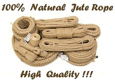 Natural Jute Hessian Rope Twisted Braided Decking Garden Camping Crafts Sash