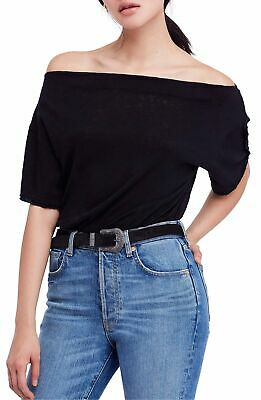 """FREE PEOPLE $58 """"She's So Cool"""" Off The Shoulder Top Black S 4/6 Small NWT"""