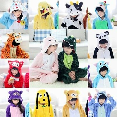 Cute Childrens Kids Teenagers Boys Girls Soft Fleece Hooded All in One Onesie9F