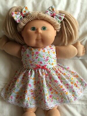 """DOLLS CLOTHES - DRESS & BOWS to fit 16"""" CABBAGE PATCH ~ Small Pink/orange Flower"""