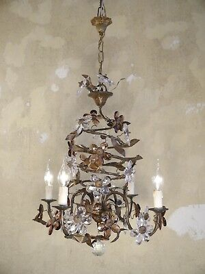 Italy Chandelier Lamp Color Crystal Old Ceiling Lightings Filigree 4 Light