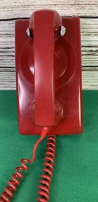 Vintage Red ITT No Dial Telephone Hanging Wall Phone