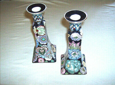 Candlesticks Chinese porcelain 8.5 inch candle holders vintage hand decorated pr