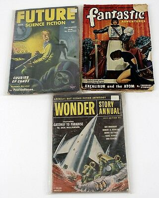 3 Vintage Science Fiction Pulp Magazines from 1950s Future, Wonder, Fantastic