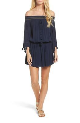 89683ab69b Lilly Pulitzer Joelle Off-Shoulder Navy Dress Sz. XS NWT Cover Up Tassels  $178