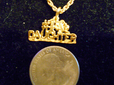 bling gold plated GIRL #1DAUGHTER PENDANT charm FASHION JEWELRY chain necklace