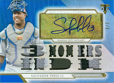 Salvador Perez 2018 Triple Threads Auto Patch Sapphire 1/3! Bonus & Free Ship!