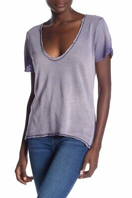 """FREE PEOPLE $58 """"Saturday"""" Distressed Lace Trim V-Neck Top Lilac Small 4/6 S"""