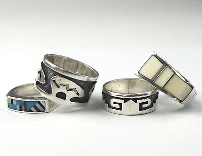 LOT OF 4 Sterling Turquoise Native American Rings - NO RESERVE AE-19 25g