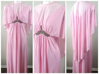 Vtg 70s 💖 Angel GRECIAN Draped PINK Empire Beaded CAPE Kaftan MAXI Dress S/M