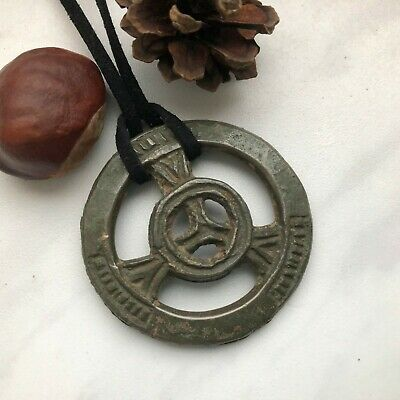 Authentic Ancient Big Celtic Bronze Amulet Wheel, 2nd-1st century BC