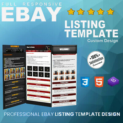 eBay product Listing Template Auction Mobile Responsive Custom HTML Template