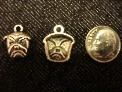 15 Dog Charms Animal Bulldog Puppy Rescue Metal Charm Antique Silver 18x26 3139