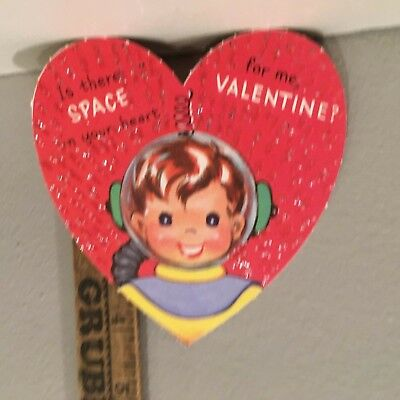 """Vtg Valentine Card 40s 50s Space Boy Astronaut Suit Clear Helmet""""Is There Space"""""""