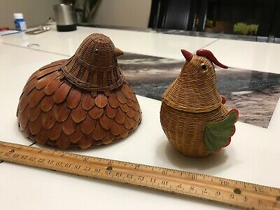 Rare Vintage Bamboo Chicken Hen Basket With Cover From China 1970s Estate Found
