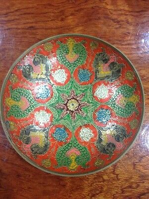 Antique Bowl Plate Brass Tray Enamel on Copper India Pattern Or China