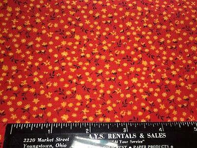 Vintage Cotton Fabric 40s50s SWEET Lil Red & Yellow Floral 35w 1yd