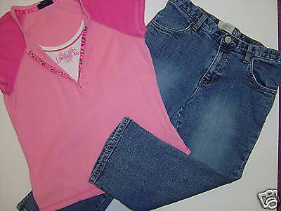 Limited Too Outfit SS Pink Toofer Top & Gap Denim Capri 12 Set 2 Piece