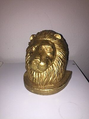 Single Lion Head Resin Heavy Bookend Gilded