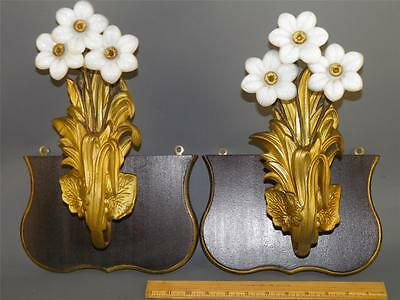 Antique French Pr. Art Nouveau Gilt White Opaline Flowers Brackets Curtain Ties