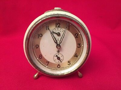 Rare Vintage ALARM CLOCK W/ Second Dial Made West Germany Working GW CIRCLE Mark