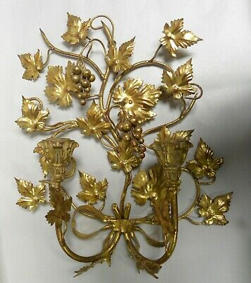 Vintage Gold Tone Grape Motif Italian Tole 2-Candle Wall Hanging Sconce (A20)