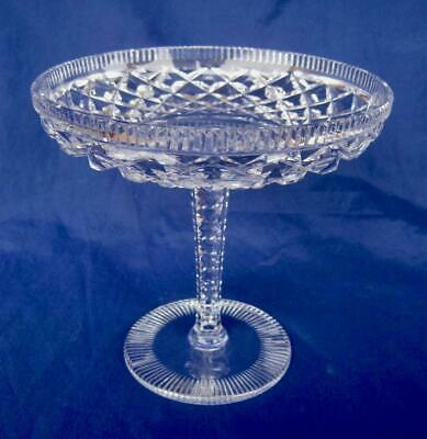 Vintage American Brilliant Compote Candy Dish Cut Glass Diamond Notched Pedestal