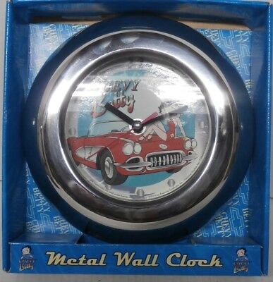 Betty Boop Chevy Betty Metal Wall Clock - Corvette - In Box - s11b