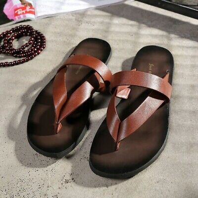 Beach Fashion Outside Men's Slippers Leisure Concise Genuine Leather Summer Flip