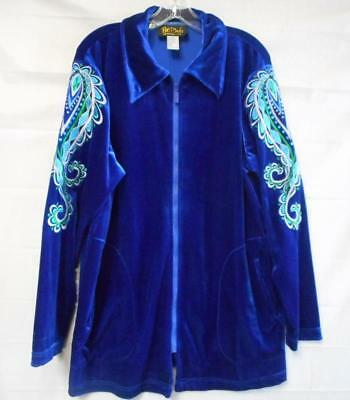bdafc197e2276a Bob Mackie Wearable Art Royal Blue Zipper Jacket w  Embroidery Size Large