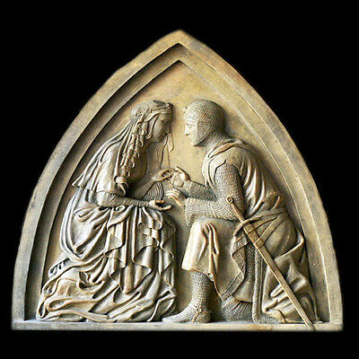 Sir Lancelot and Queen Guinevere plaque Sculpture Replica Reproduction