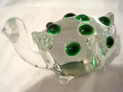 "Art Glass Lampwork Turtle With Green  Bumps Paperweight 5""L X 3 1/2"" H"
