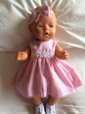 """Doll Clothes to fit 17"""" Baby Born doll ~ Dress & hband  ~ Pink ~ White Dots"""