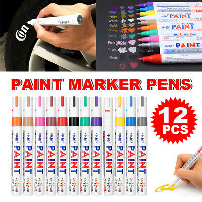 12pcs Multicolored Rubber Permanent Paint Marker Pens Car Tyre Tread Waterproof