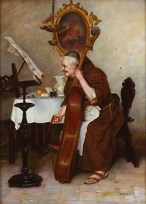 Pietro Lanzoni Genre Italian Antique Oil Painting of a Monk Signed One of Pair