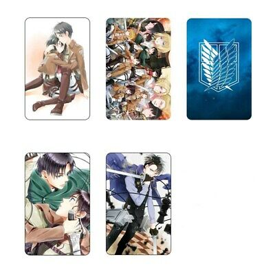 Hot Anime Attack on Titan 5pc/set Card Paster IC Card Sticker Credit