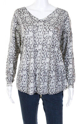 259283334574 Joie Womens Abstract Print V Neck Sweater Grey White Wool Blend Size Large