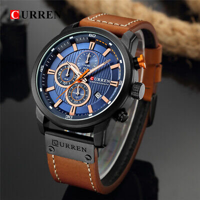 CURREN Mens Leather Wrist Watch Date Quartz Analog Army Military Sport Casual
