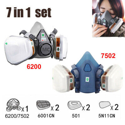 7502/6200 Spray Paint Dust Gas Mask 7in1 Half Face Reusable Respirator Filter