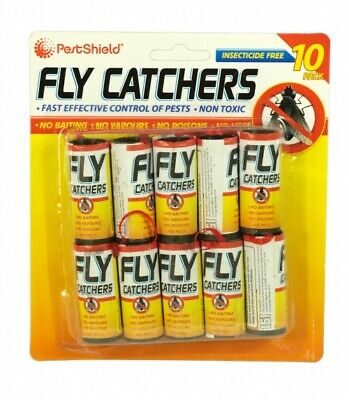 10 X Fly Insect Catchers Insects Bugs Wasp Poison Free Sticky Papers Traps House