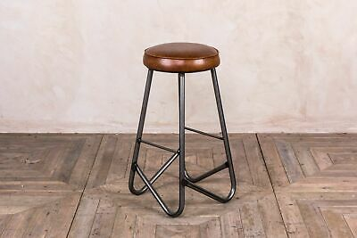 Leather Seat Metal Frame Breakfast Bar Industrial Style Jewellery Stools 66Cm