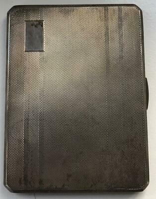 Heavy Sterling Silver Engine Turned Cigarette / Card Case William Coghill 1956